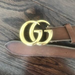Gucci brown leather belt with double GG